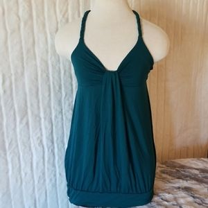 LUSH // teal braided t=back tank top